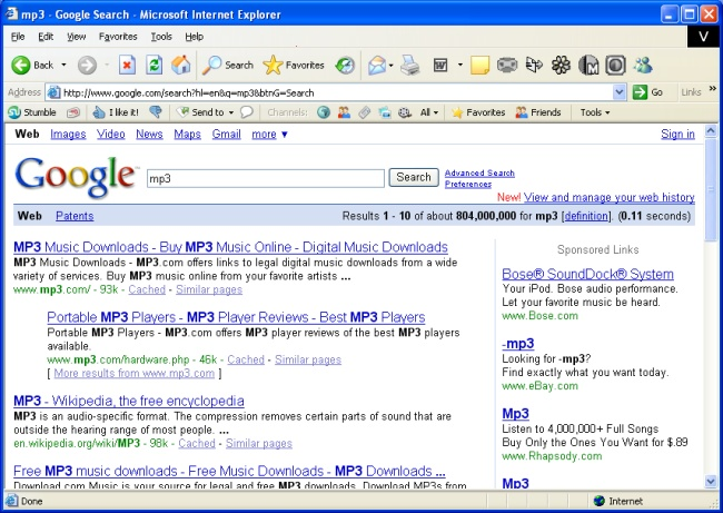 Google search results for mp3